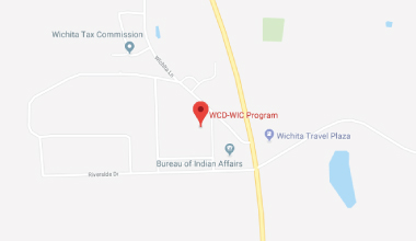 Map showing the location of WCD-WIC Anadarko, OK clinic