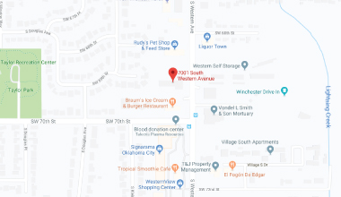 Map showing the location of WCD-WIC Oklahoma City, OK clinic